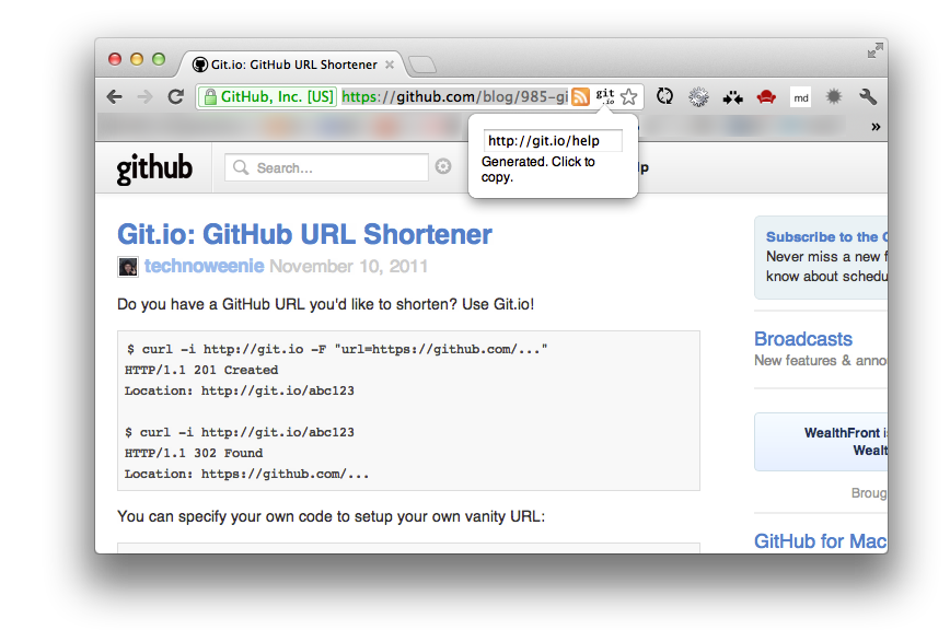 Git.io URL Shortener Demo